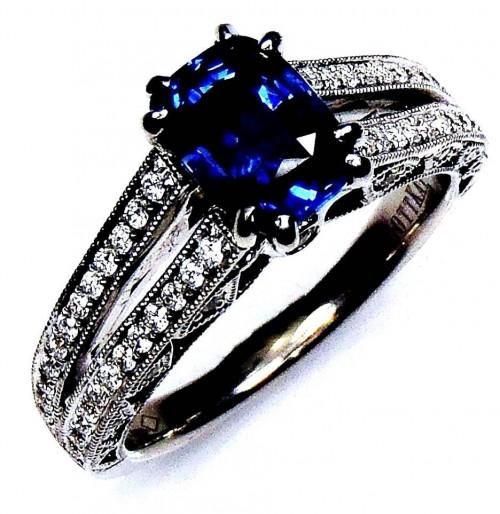 Blue Sapphire Ring, GIA G.G Certified Gold 1.77 ct Cushion Cut Ceylon Sapphire & Diamond - GIA G. G Appraisal $8,898.69