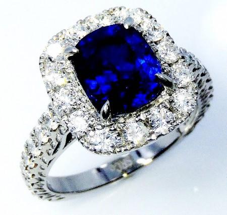 Custom natural sapphire & diamond ring, GIA certified 3.31 ct blue sapphire set into platinum diamond ring - GIA G. G Appraisal $23,997.30