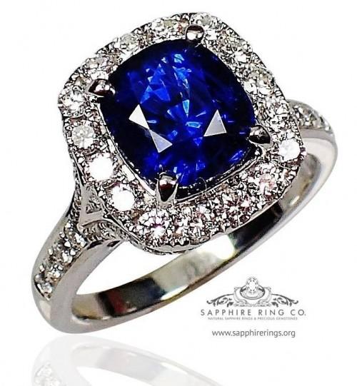 Sapphire Platinum Engagement Ring, 2.78 ct Cushion Cut Ceylon Natural Sapphire GIA - 3095