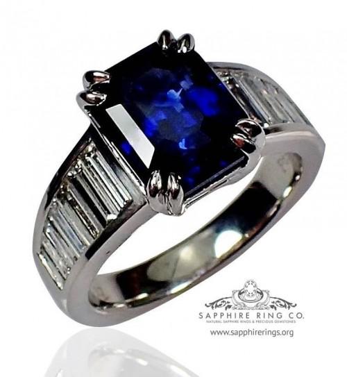 Untreated Sapphire Engagement Ring, 4.07 ct Royal Blue Asscher Cut Natural Sapphire - $20,315.54