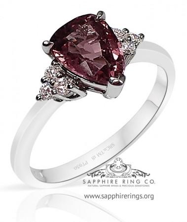 1.50 ct Untreated Pink Ceylon Sapphire Platinum Ring, GIA - 3212