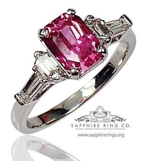 2.05 ct Untreated Ceylon Sapphire & Diamond Platinum Ring, Emerald Cut Ceylon Sapphire - 3068