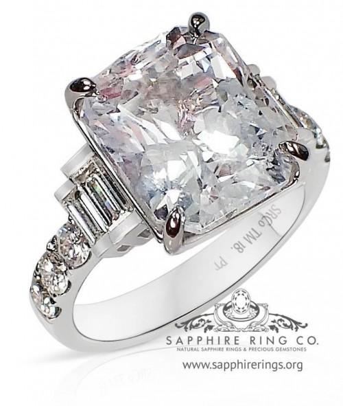 7.03 ct Untreated Platinum Sapphire Ring, Radiant Cut Ceylon Sapphire GIA - 3180