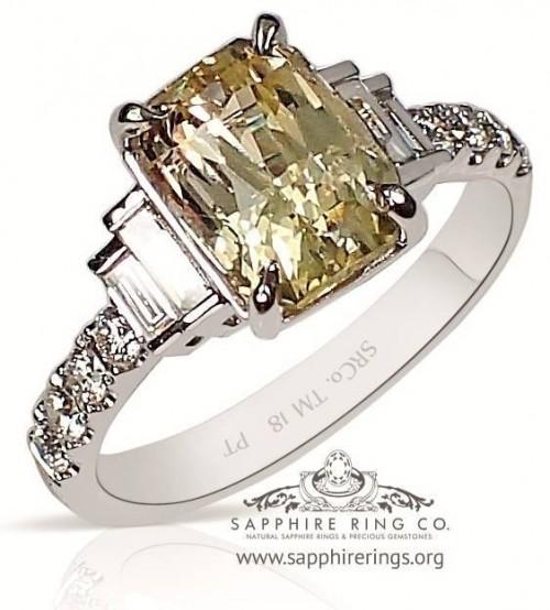 3.04 ct Untreated Yellow Platinum Sapphire Ring, Emerald Cut Ceylon Sapphire - 3194