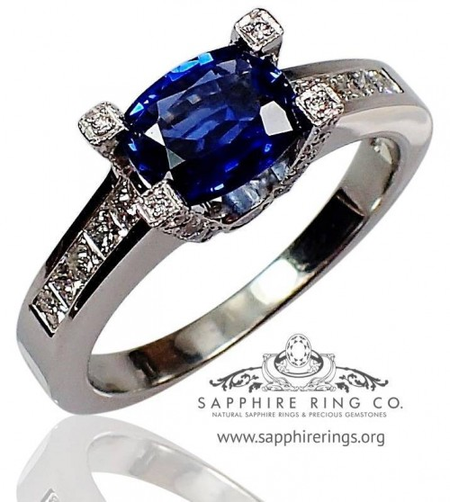 GIA Certified 18 kt 1.30 ct Blue Cushion Cut Natural Ceylon Sapphire & Diamond Ring $8,255.46 - 2734