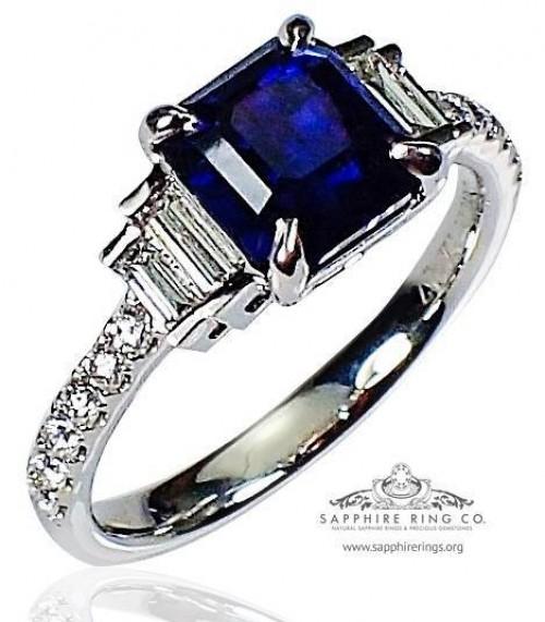 Untreated Platinum Sapphire Diamond Ring, GIA 2.04 ct Blue Ceylon Natural Sapphire - 3129