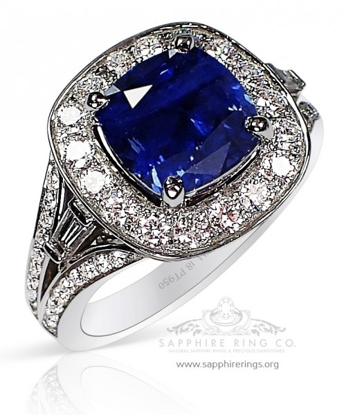 3.68 ct Untreated Platinum Blue Ceylon Sapphire Ring, GIA