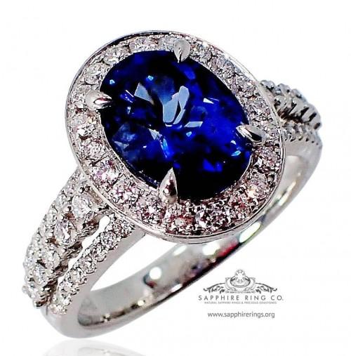 Platinum Sapphire  Wedding Ring, 2.58 ct Oval Cut Ceylon Natural sapphire GIA - $9,995.71