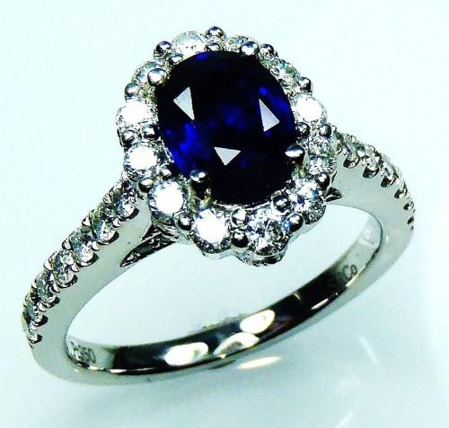 GIA Certified Platinum 2.17 tcw Blue Oval Cut Natural Ceylon Sapphire & Diamond Ring - GIA G. G Appraisal Vale $11,252.33.**