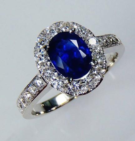 GIA Certified 18kt White Gold 1.02 ct Blue Oval Cut Natural  Ceylon Sapphire & Diamond Ring -  ( Full Custom order )