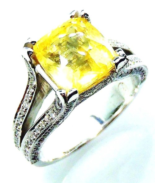 Untreated GIA  18kt  4.84 tcw Yellow Cushion Natural Ceylon Sapphire & Diamond Ring - 2825