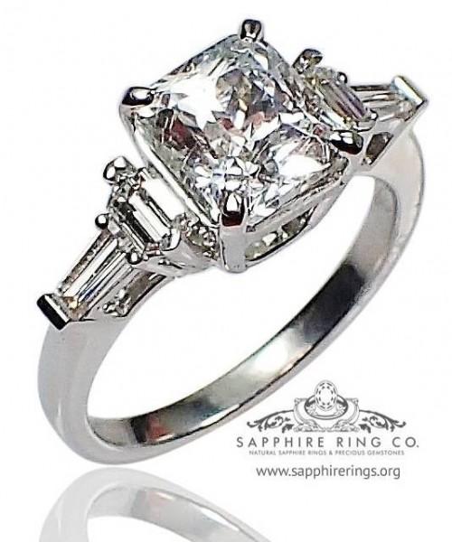 Untreated White Sapphire Platinum Ring, GIA 2.83 ct Asscher Cut Natural Ceylon sapphire $4,350.00