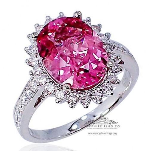 GIA 3.51 ct 18kt Pink Cushion Cut Natural Tourmaline & Diamond Custom Ring - 501D