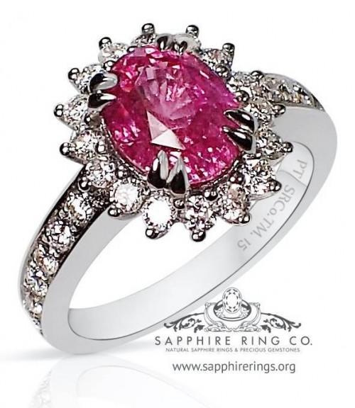 2.46 ct Untreated Platinum Pink Ceylon Sapphire Ring, GIA - 2891