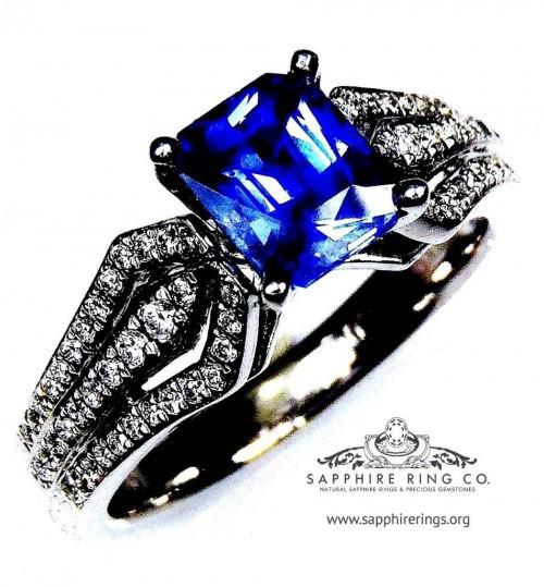 1.33 ct Untreated Blue Sapphire Ring, 14kt emerald cut Ceylon sapphire - 2869