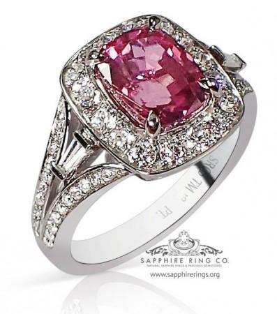 3.00 ct Untreated Pink Sapphire Platinum Ring, GIA  - 3178