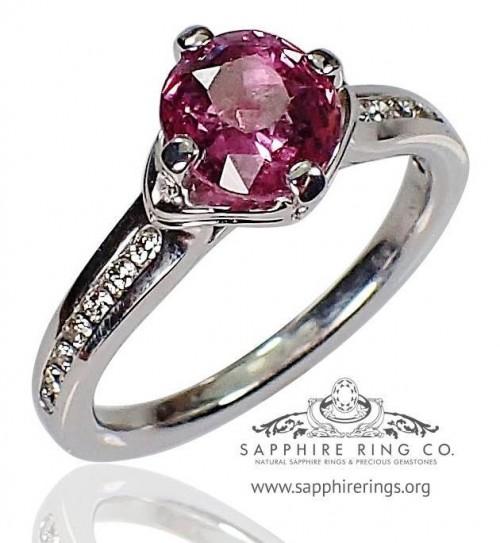 Untreated 1.75 ct  Pink Round Cut Natural Ceylon Sapphire & Diamond Ring $7225.36 - 2654