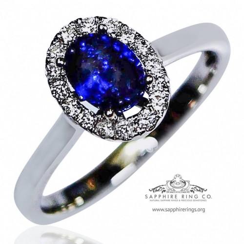 Blue Sapphire Ring, Certified 14kt 1.02 ct Oval Cut Blue Sapphire & Diamond Setting - 2864