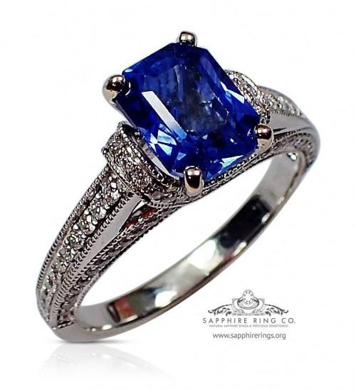 Untreated 18kt 1.90 ct Blue Emerald Cut Natural Ceylon Sapphire & Diamond Ring - 3147