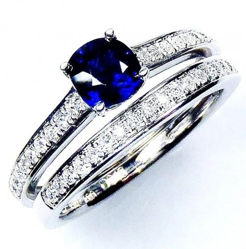 Untreated 1.30 tcw Blue Cushion Cut Natural Ceylon Sapphire & Diamond Ring Set