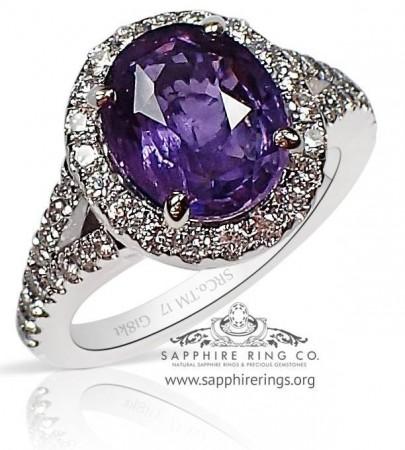 4.19 ct Untreated Purple Ceylon Sapphire Ring, GIA 18kt - 3193