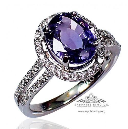 Untreated Sapphire & Diamond Ring, GIA  2.75 ct Purple-Violet Natural Ceylon Sapphire - 3069