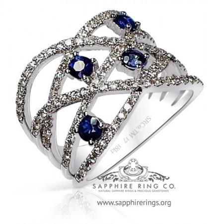 1.16 tcw 18kt White Gold Sapphire & Diamond Custom Made wedding Band - 3149
