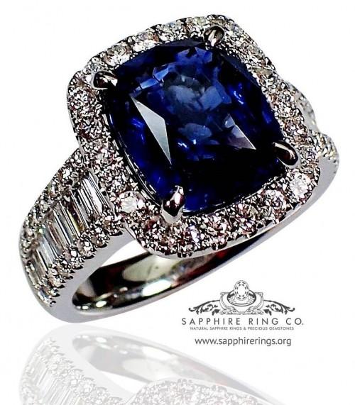 Platinum Sapphire Engagement Ring, GIA 5.00 ct Cushion Cut Natural Ceylon Sapphire - $30,536.66