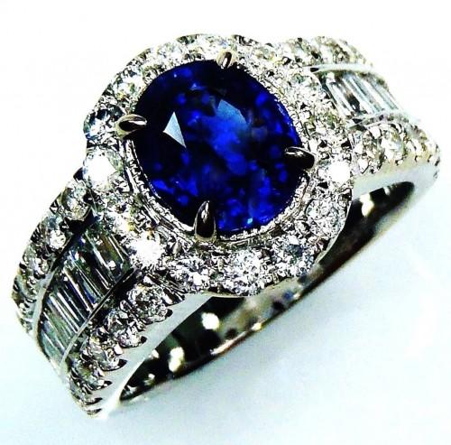 Platinum sapphire ring,GIA 18 kt 3.42 tcw Blue Oval Cut Natural Ceylon Sapphire & Diamond Ring - GIA G. G Appraisal $10,948.36.