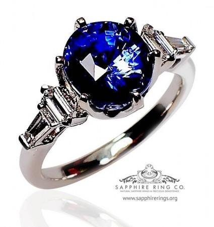 3.51 ct Vivid Blue Sapphire Engagement Ring, 18kt GIA Oval Cut Ceylon Sapphire - 3139