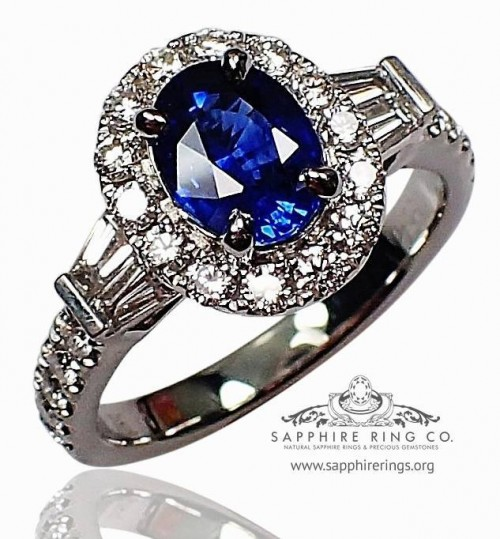 Platinum Sapphire & Diamond Ring, GIA 1.24 ct Oval Cut Royal Blue Ceylon Sapphire - $6,995.30