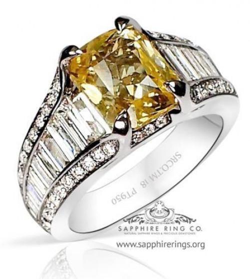 3.60 ct Untreated Platinum Yellow Sapphire Engagement Ring, GIA  - 3144