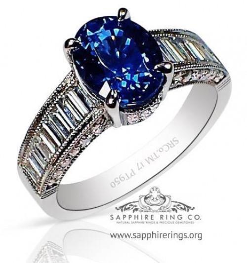 2.67 ct Platinum Sapphire Ring, GIA Blue Oval Cut Ceylon Natural Sapphire - 3158