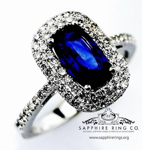 Untreated Natural Sapphire Ring, 1.75 ct Cushion Cut Blue Ceylon Sapphire & Diamond Ring - 2842