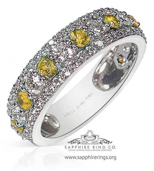1.78 tcw Custom Made Yellow Platinum Sapphire Wedding Band - 3201Y