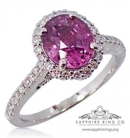 1.87 ct 18kt Untreated Sapphire Diamond Ring, GIA Pink Oval Cut Ceylon Sapphire - 3119