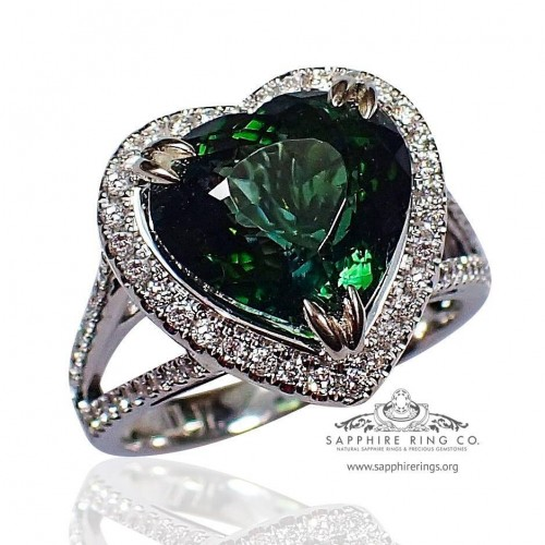 GIA 18kt 5.07 ct Green Heart Cut Natural Tourmaline & Diamond Custom Ring - 506D