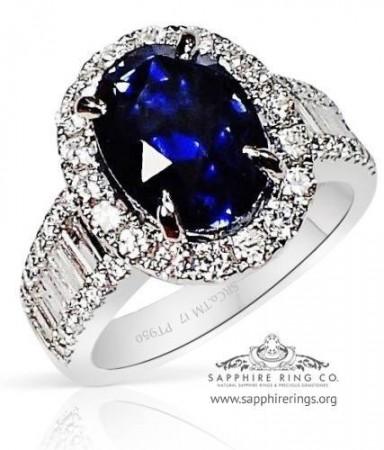 5.48 ct Untreated Platinum Sapphire Engagement Ring, GIA  - 3141