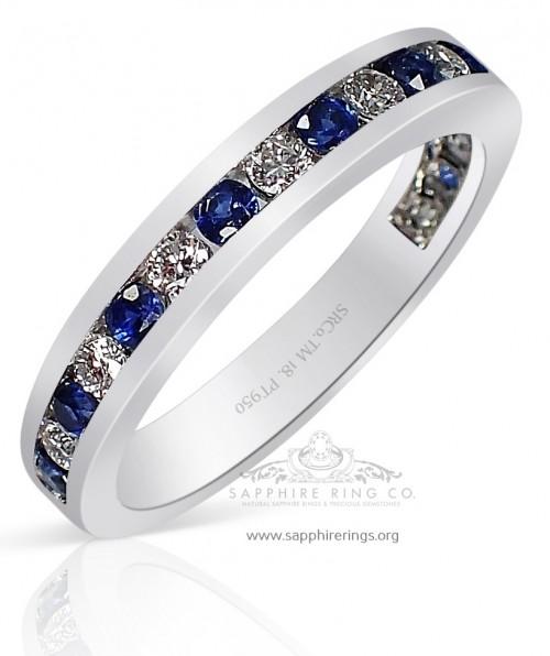 Platinum Sapphire Wedding Band 0.78 tcw