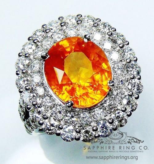 Natural sapphire ring, GIA Certified Platinum 6.08 ct Orange Oval Ceylon Diamond Ring - 2800