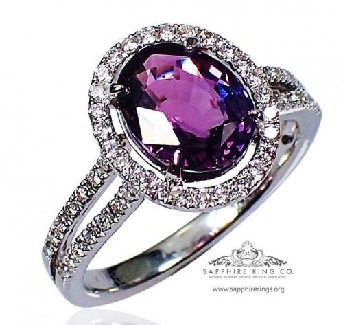 2.58 ct Purple Sapphire & Diamond Ring, 14kt Oval Cut Ceylon Natural Sapphire - 3070