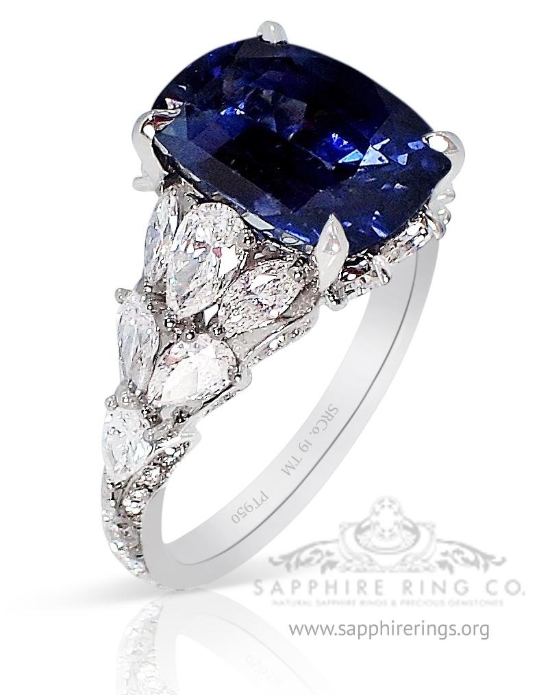 natural sapphire ring - Platinum 950 GIA