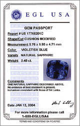 EGL USA report for Sapphire