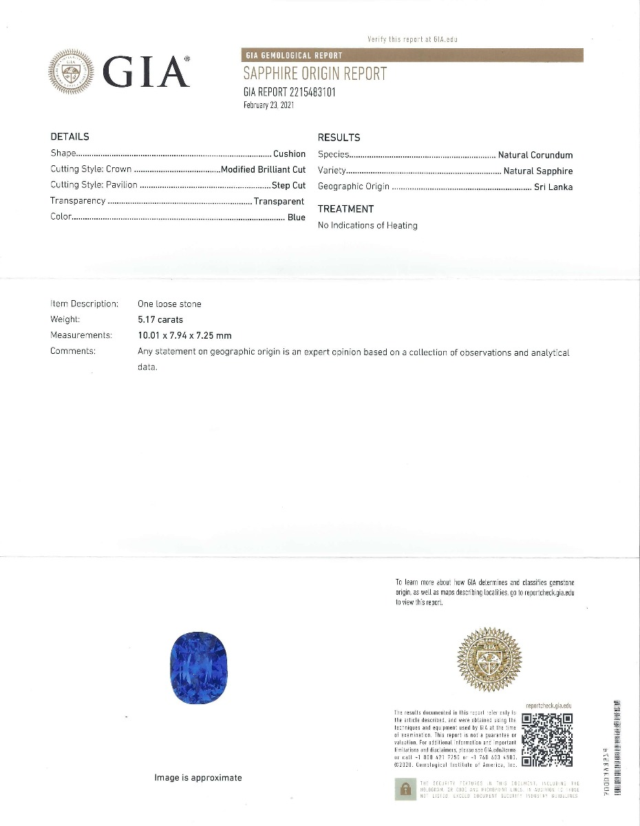 GIA standard report for a natural color chnage sapphire