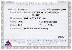 Natural sapphire,s GIT Certificate