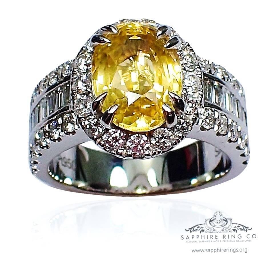 Yellow natural sapphire diamond ring